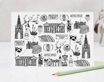 Scotland Greeting Card - Scotland Drawing - Scotland Illustration - Scotland Gift - Scotland Skyline - Scotland Blank Card