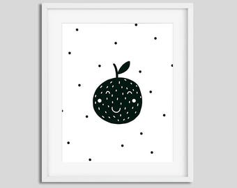 Nursery print Scandinavian style Black and white poster Kids wall art with cute apple Nursery printable art
