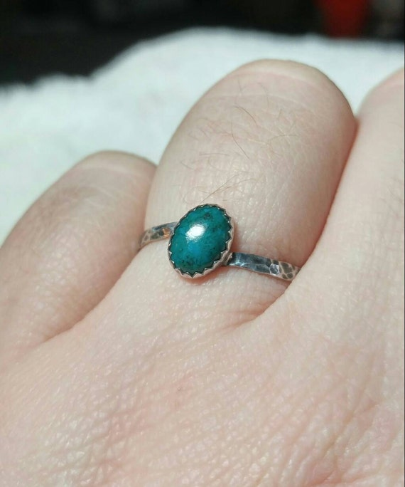 Simple Blue Ring | Aqua Blue Stone Ring | Sterling Silver Ring Sz 9 | Blue Green Stone Ring | Chrysocolla Ring | Mermaid Ring