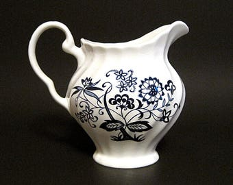 Vintage Blue Nordic Creamer Onion Flower White Swirl China England