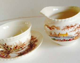 Johnson Bros. Vintage Castle on the Lake  Teacup and Cream Pitcher