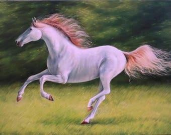 White horse, Running horse, Original oil, Animalistic, Gift, Horse painting