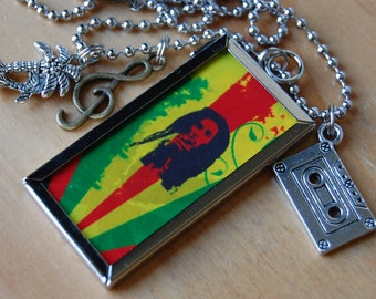 Bob Marley~ Double Sided Necklace with 3 Charms