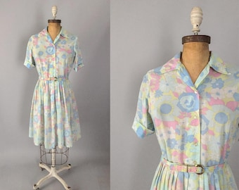 Vintage 1960s dress / 50s 60s pastel floral shirtdress / medium M