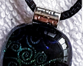 "Dichroic Fused Glass Pendant on 18"" black satin cord"