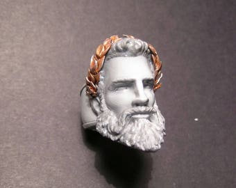 Ring Zeus, printed in 3d, 3d printed, hand-painted, hand painted