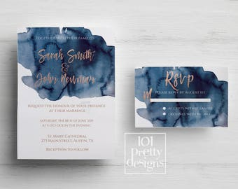 Rose gold wedding invitation printable wedding invitation design navy rose gold foil wedding invitation template watercolor rose gold foil