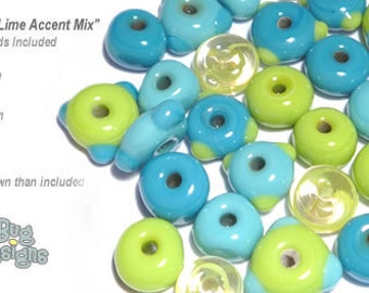 ACCENT Handmade Lampwork Beads 15 Spacers Turquoise and Lime by Desert Bug Designs