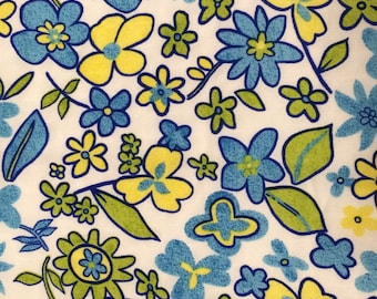 Floral Fabric / Polyester Floral Fabric / Blue and Yellow Floral Fabric / Blue Floral Fabric / Yellow Floral / Shason Inc. / 1  and 1/2 Yard
