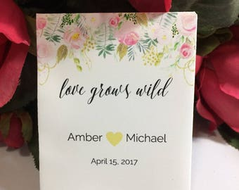 Custom Wedding Seed Favors Blush Pink Wedding Seed Packets Watercolor Floral 50 Wedding Favors Seed Packets Wildflower Seeds