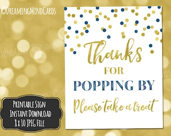 Printable Thanks for Popping By Popcorn Bar Sign 8x10 Navy Blue Gold Confetti Baby Shower Birthday Wedding Digital Download