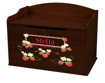 Personalized Strawberries Espresso Toy Box Bench