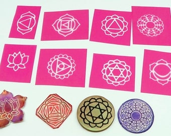 Beadcomber Silk Screen - 8 Chakra and Lotus Silkscreens for polymer clay, paper, fabric, glass, metal and more and DIY