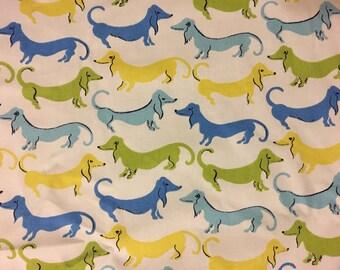 Waverly Hot Dogs Blue Jay Dachshund Fabric