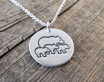 Mother Bear with Three Cubs Necklace, Mom and Three Kids, Three Children Jewelry, Fine Silver, Sterling Silver Chain, Made To Order