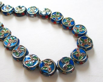 Floral Cloisonne Beads - Cobalt Blue Coin Beads - Cloisonne Flat Round Spacer - 11mm - 9 PCS - Asian Oriental - Jewelry Making - Bulk Price