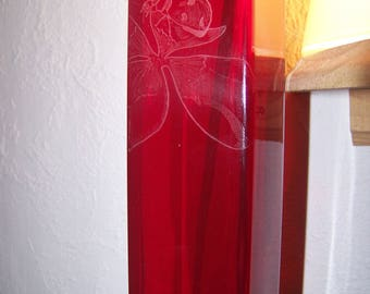 Vase 20 cm free customization - engraving of a lady bug Red