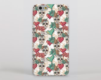 Candy Skulls and Hearts Hipster Phone Case/Cover for iPhone Case/Cover (iPhone 8 Case/Cover) or Samsung Phone Case/Cover - FREE UK DELIVERY