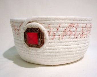 Peppermint Twist Coiled Fabric Bowl, Coiled Fabric Basket