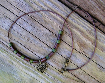 Heart Choker Necklace, Tribal beaded jewelry, Ethnic charm, Brown wood bead, Green wood pendant, Boho brass tribe bohemian layering necklace