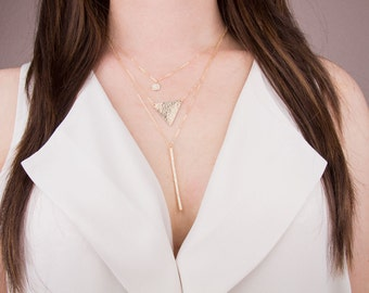 Large Triangle Necklace in 14K Gold Filled, Sterling Silver, Rose Gold Filled, Triangle Statement Necklace, Geometric Jewelry,Long Necklace
