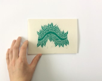 small linocut - VINE // 5x7 art print // printmaking // block print // nature art // green // forest print
