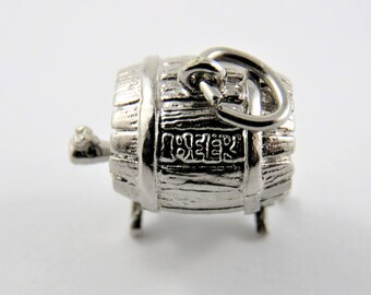 Large Keg with Beer Engraved on the Side Sterling Silver Charm of Pendant.