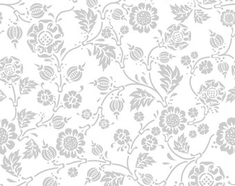 Vine Fabric from Rosecliff Manor by Emily Taylor for Riley Blake Designs C3922 Gray- Priced by the 1/2 yard