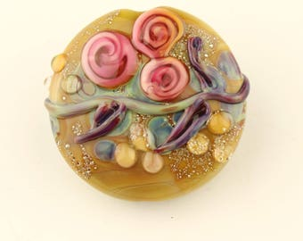 Lampwork Bead  Floral Lentil Focal, Glass, Brown, Silver,  Purple, Green, with Pink Roses, SRA