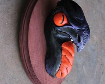 Black Wyvern Dragon Faux Taxidermy Fantasy Head Mount