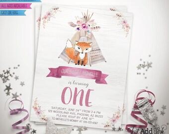 Wild One First Birthday Invitation, Woodland Fox, Teepee, Watercolor Invite