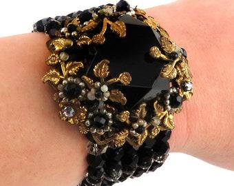 Vintage Victorian Mourning Jewelry Style Black Rhinestone Brass/Bronze Bracelet