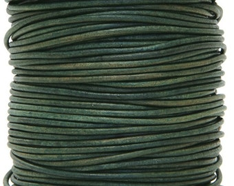 Round Leather Cord  1.5 mm Diameter Natural Turquoise 50 Meter Spool