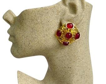 Authentic CHANEL 1990 Vintage Ruby Red Gripoix CC Emblem Lg Clip Earrings RARE