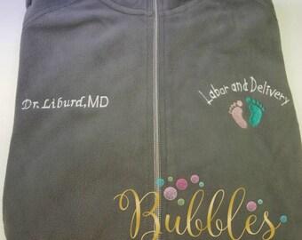 Labor and Delivery Nurse Jacket Grey Ladies Lightweight Fleece Full Zip Customized