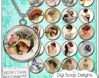 Digital Collage Sheet -Vintage Ladies Collage Sheet One Inch Circles Pendants, Magnets, & Scrapbook, Harrison Fisher Lady, Instant Download