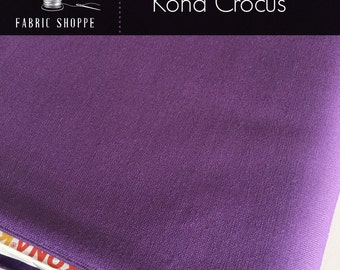 Kona cotton solid quilt fabric, Kona CROCUS 142, purple fabric, Solid fabric Yardage, Kaufman, Cotton fabric, Choose the cut
