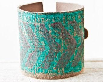 Turquoise Jewelry, Leather Jewelry, Cuff Bracelet, Turquoise Tribal Native Chevron