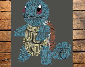 Squirtle Pokemon Typography Digital File