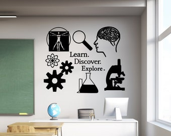 Classroom wall decal, Learn discover explore, science decal, Classroom decal, Science wall art, Science decor, Classroom wall art, Science