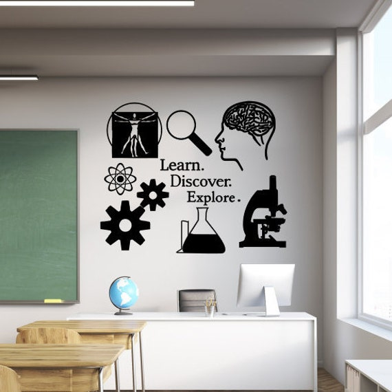 Science Classroom Design Ideas: Classroom Wall Decal Learn Discover Explore Science Decal