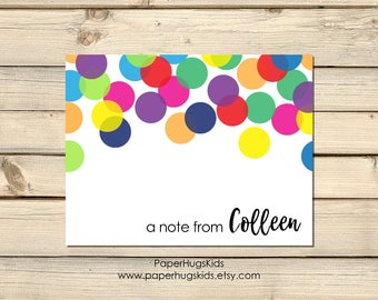 Rainbow Confetti stationery, Rainbow Note Cards, Kids Thank You Cards, Personalized Stationery, Note Cards, Rainbow Confetti / Set of 10