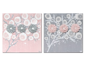 Set of Two Gray and Pink Wall Art on Canvas, Sculpted Flower Paintings, Small Nursery Art for Baby Girl - 21x10