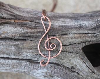 Treble Clef. Oxidized Copper. Pendant. Wire Jewelry.