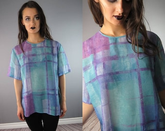 See Through Blouse / See Through Top / Sheer Clothes / Ultra Violet Pastels