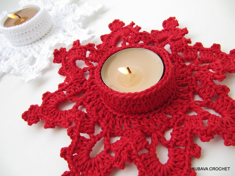 Christmas Crochet Pattern, Tea Light Holder Melting Snowflake ...