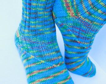 Hand Knit Wool Women Socks, Colorful Socks, Knit Teal Socks, Slippers, Striped Socks.