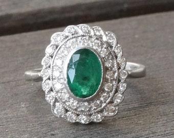 RESERVED** Antique Art Deco Platinum Emerald & Diamond Engagement Ring Size 4.75