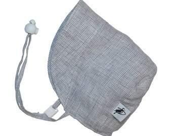 Infant's Sun Protection Linen Bonnet - Grey Check (newborn, 3 month, 6 month, XXS)