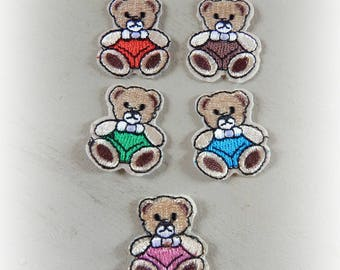 5 fusible badges patches / appliques bear Teddy bear 3.3 * 3 cm